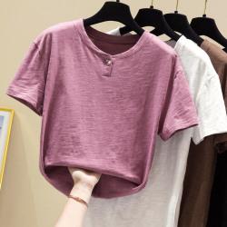 松雨7962#2020夏装新款大码女装纯棉竹节宽松短袖t恤女潮一件待发