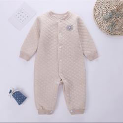 圣婴堡 婴幼儿连体衣彩棉方格夹丝闭档哈衣 S2907