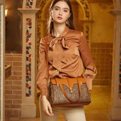 法国LMK品牌包包2021新款艺术经典女士单肩包斜挎包手提包    褐色