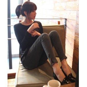 韩国代购女韩版潮拉链显瘦复古烟灰色铅笔裤子小脚紧身牛仔裤