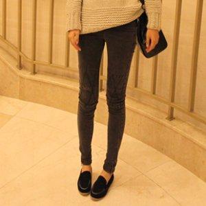 韩国代购女韩版显瘦复古烟灰色铅笔裤子小脚紧身牛仔裤
