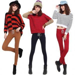 韩国 彩色绑带牛仔裤糖果色铅笔裤修身显瘦小脚长裤