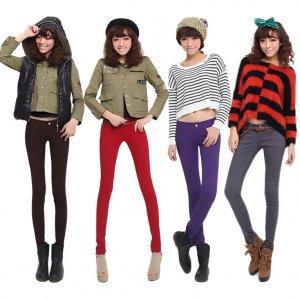 韩国 彩色牛仔裤糖果色铅笔裤修身显瘦小脚长裤
