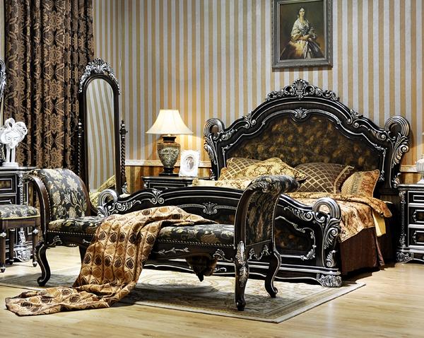 新古典时尚家具 卓越年华 黑色描银 床头柜 衣柜 欧式