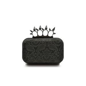 【D.B.E.Y】2016新款McQueen风格刺钉金属开关印花帆麻布料晚宴包 3102503