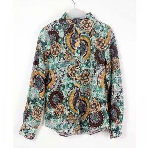 娜斯芮-时尚洋气复古潮流搭配绿色花衬衣  3313#