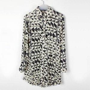娜斯芮-早春新款抽象菱形雪纺印花长款衬衣  3315#
