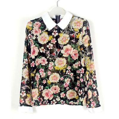 娜斯芮-初春新款可爱欧美拉链碎花撞色雪纺衫 3019#