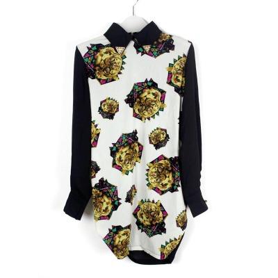 娜斯芮-春季欧美复古个性时尚垂感豹纹拼料衬衣 519#