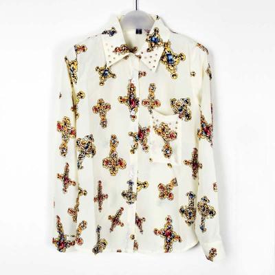 娜斯芮-爆款初春复古柳钉十字架雪纺衬衣 3321#