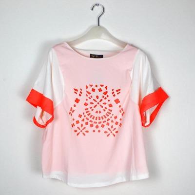 娜斯芮-爆款夏天必备糖果色彩雪纺棉拼接 短袖 6662#