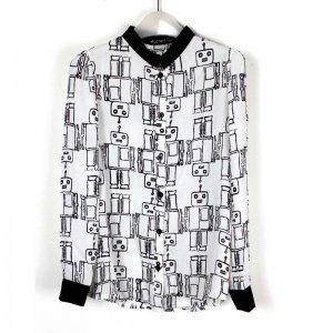娜斯芮-超级垂感 可爱机器人 雪纺立领衬衫 5277#
