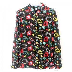 娜斯芮-新款欧美范百搭雪纺印花 衬衣 8255#