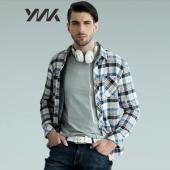【黑马商城】时尚男装 加绒加厚 长袖格子衬衫13FWOSH001
