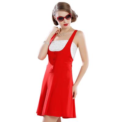 苑丽影儿 春夏季新款女装优雅高腰连衣裙红色 142Q0011