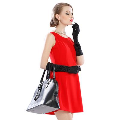苑丽影儿 新款夏装欧美女装高档修身连衣裙红色 142Q0003