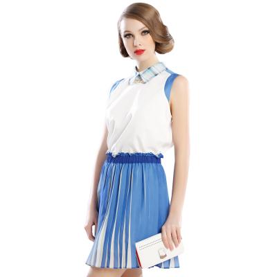 苑丽影儿 春夏季新款女装裙摆压辄层次短裙蓝色 142Q0032