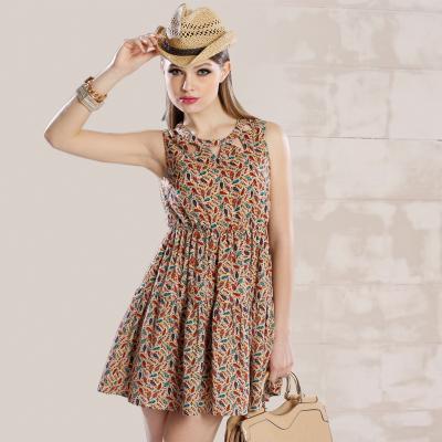 苑丽影儿 新款夏装欧美女装高档气质修身显瘦连衣裙无袖 142Q0112