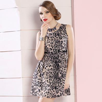 苑丽影儿 新款夏装时尚豹纹修身连衣裙 142Q0068