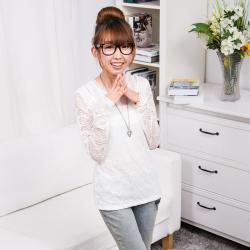 Wise-muse 修身蕾丝针织长袖打底衫 UST-012