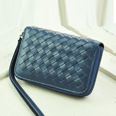 玛莉思曼 编织羊皮钥匙包女多功能零钱包女式韩版可爱拉链手机包女 5119