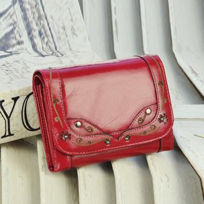 玛莉思曼 韩版拉链可爱女士零钱包真皮短款女包牛皮两折大容量皮夹 5802