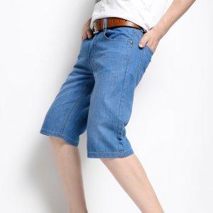 动力士 夏季新款蓝色男装牛仔短裤男直筒猫须休闲牛仔中裤 MF111