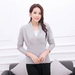 卡娅米娅 秋季新款环韩版女装山羊绒针织衫 弹力束腰翻领长袖针织衫 KF-08