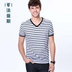 """法曼斯2016夏季新款条纹<span class=""""gcolor"""">短袖T恤</span>男士青年商务休闲V领短袖衫修身男"""
