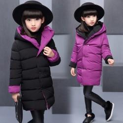HBXH095-1 女童两面穿棉衣 一件代发童装女童棉衣儿童棉服两面穿冬装新款中长款加厚棉袄棉服