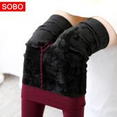 秋冬新款色纱打底裤 600针高密仿锦纶超柔加绒保暖一体裤 A435  300g