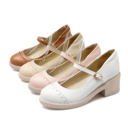 """春新款5cm粗跟<span class=""""gcolor"""">高跟鞋</span>棕色黄色一字扣带单鞋女"""