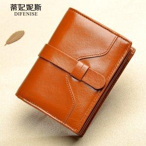 蒂妃妮斯复古油蜡牛皮女士钱包女短款真皮韩版女式钱夹两折皮夹女 5810