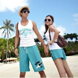 夏季男女情侣衫无袖背心T恤短裤裙沙滩海边度假休闲套装9802