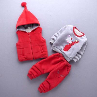 一件代发童装秋冬卫衣女童三件套装2017新款儿童加绒加厚小童衣服