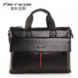 菲利克斯男包撞色牛皮休闲公文包男士手提包单肩斜跨包纯手工正品 F60059-1