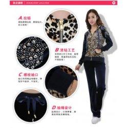 女装套装批发韩国绒休闲套装 新款豹纹金丝绒套装厂家直销