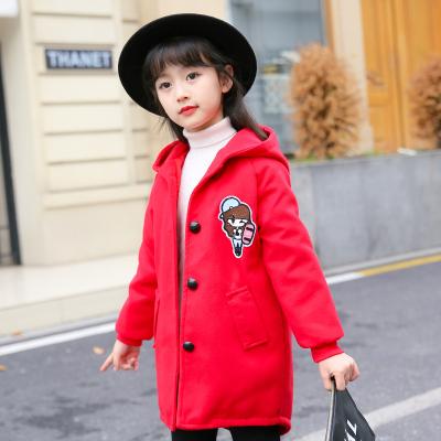 一件代发童装儿童加绒毛呢外套女童中长款韩版风衣中大童呢子大衣