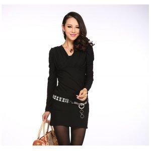 丝柏儿 2016春装新款韩版女装OL淑女连衣裙V领包臀裙一步裙修身显瘦 556