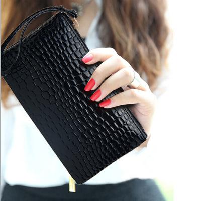 2016新款手拿包 鳄鱼纹手机包 手提包