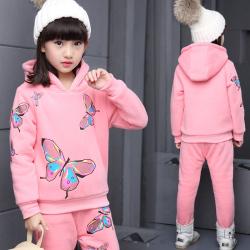 一件代发2017新款休闲套装女童冬装中大童儿童时尚两件套童装潮