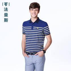 """法曼斯2016夏季纯棉<span class=""""gcolor"""">短袖T恤</span>青年男士时尚休闲条纹翻领短袖衫薄款"""