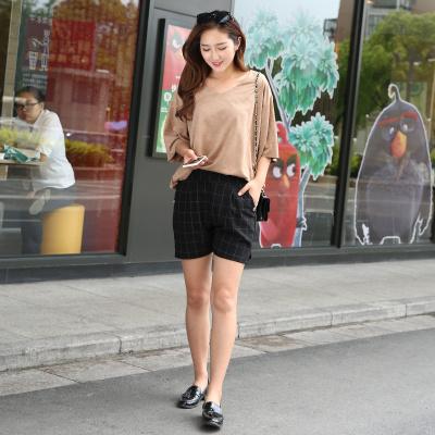简晨 大码女装韩版夏季新款格子短裤女休闲裤宽松大码百搭松紧热裤女潮 JC1108
