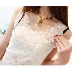 曼柚 韩版女装镂空花朵全蕾丝背心双层烧花蕾丝波浪打底衫1005