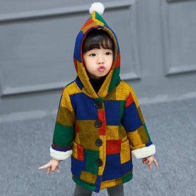 一件代发2017冬装新款童装女童儿童单排扣秋冬宝宝风衣中小童外套