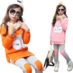 一件代发小孩女小童冬季套装洋气棉衣服女童冬装儿童加厚两件套