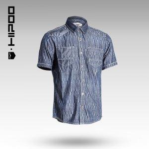 新款牛仔衬衫男短袖薄款牛仔衬衣纯棉大码牛仔衣 1142204
