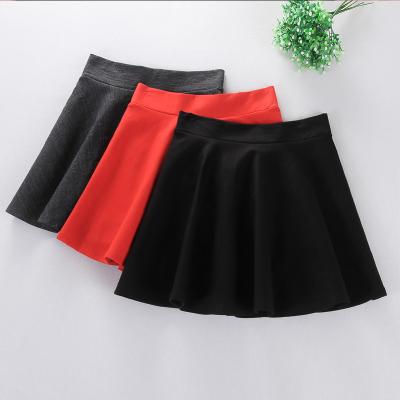 红成短裙半身裙a字韩版针织蓬蓬裙伞裙百褶裙黑色打底裙 半身裙 6019