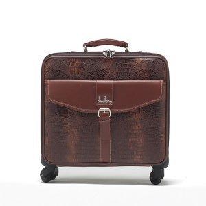 丹希龙新品时尚大方鳄鱼纹品牌拉杆箱棕色pu皮箱行李箱商务箱535