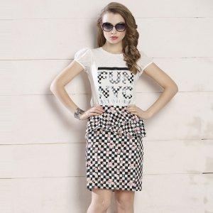 苑丽影儿 新款夏装欧美女装高档气质短裙 142Q0101